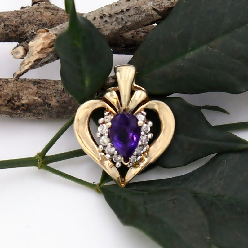 10k Yellow Gold Estate Amethyst & Diamond Heart Pendant