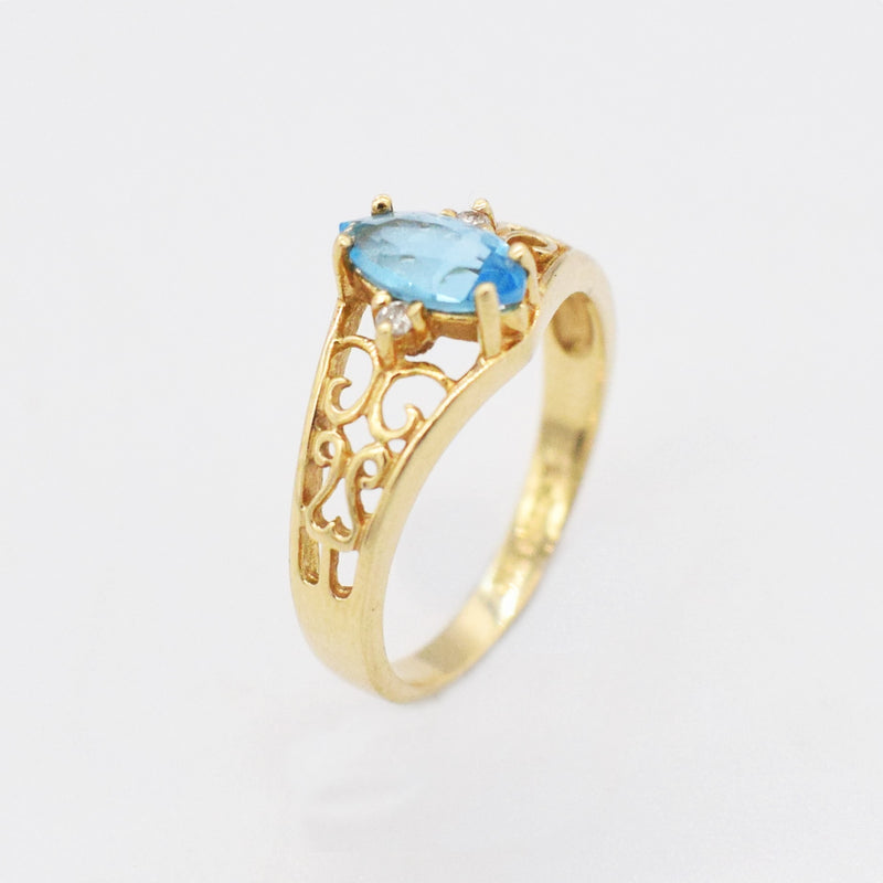 14k Yellow Gold Estate Filigree Blue Topaz Ring Size 6