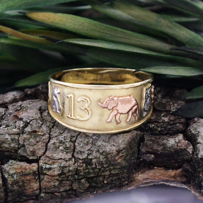 14k Tri Color Gold Elephant 13 Owl Horseshoe & 4 Leaf Clover Luck Ring