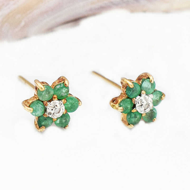 10k Yellow Gold Emerald & Diamond Flower Post Earrings