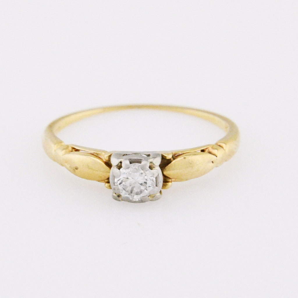 14k Yellow & White Gold Antique Solitaire Diamond Ring Size 5 1/4
