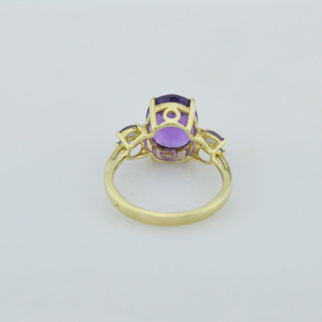 10k Yellow Gold Estate Amethyst & Tanzanite Ring Size 8.25