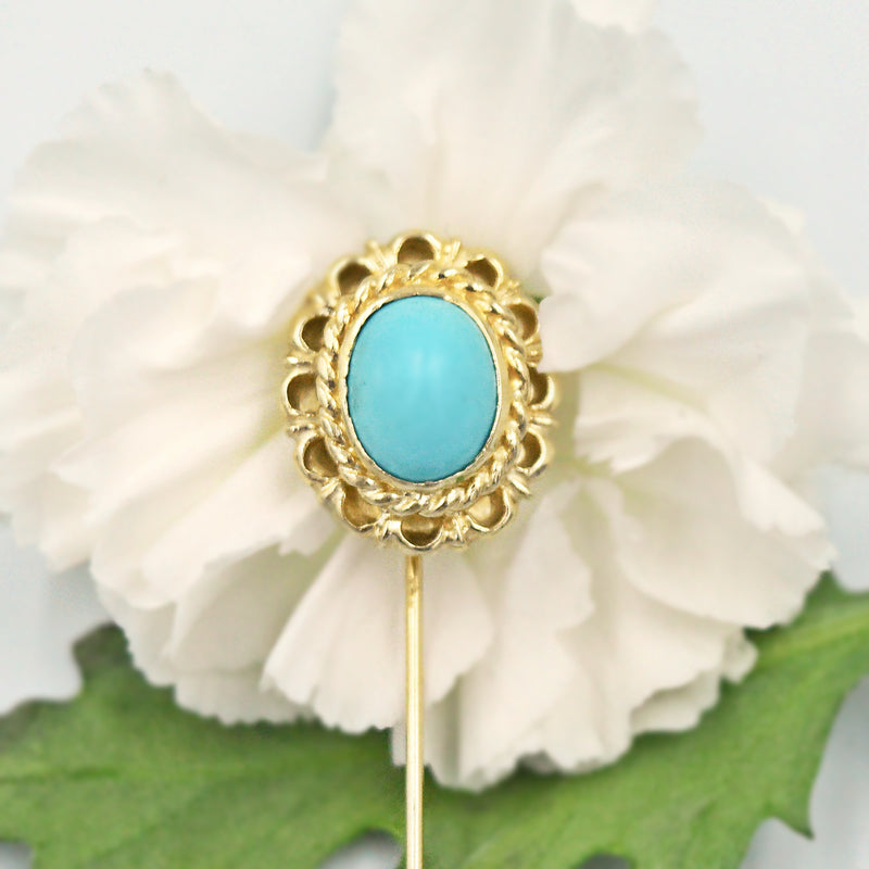14k Yellow Gold Estate Ornate Turquoise Stick Pin