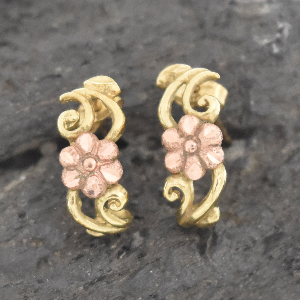 10k Yellow & Rose Estate Flower Scroll Design J Hoop Post Earrings
