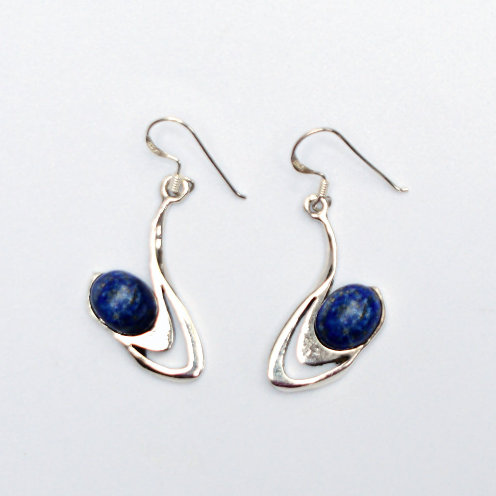 New Sterling Silver 925 Free Form Lapis Gemstone Dangle/Drop Earrings