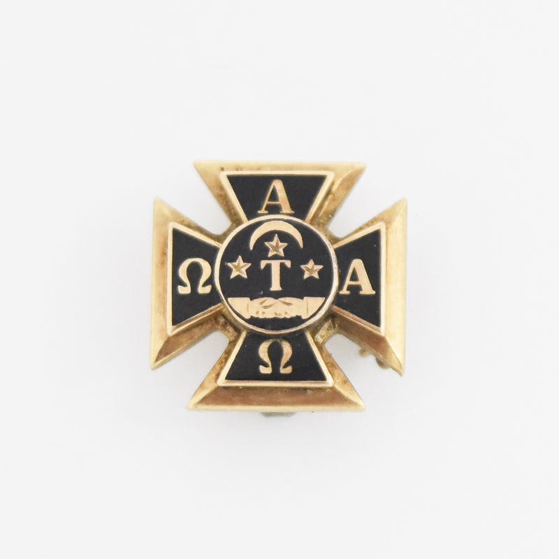 10k Yellow Gold Antique Enamel Alpha Tau Omega Pin