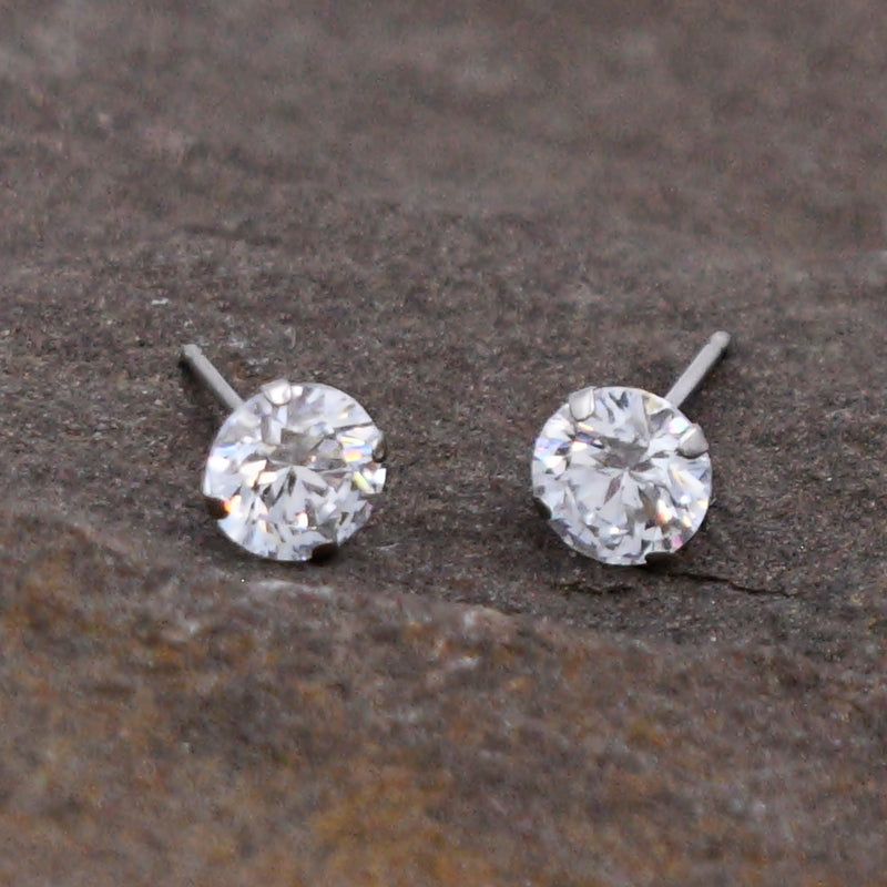 14k White Gold Estate CZ Gemstone Post Earrings