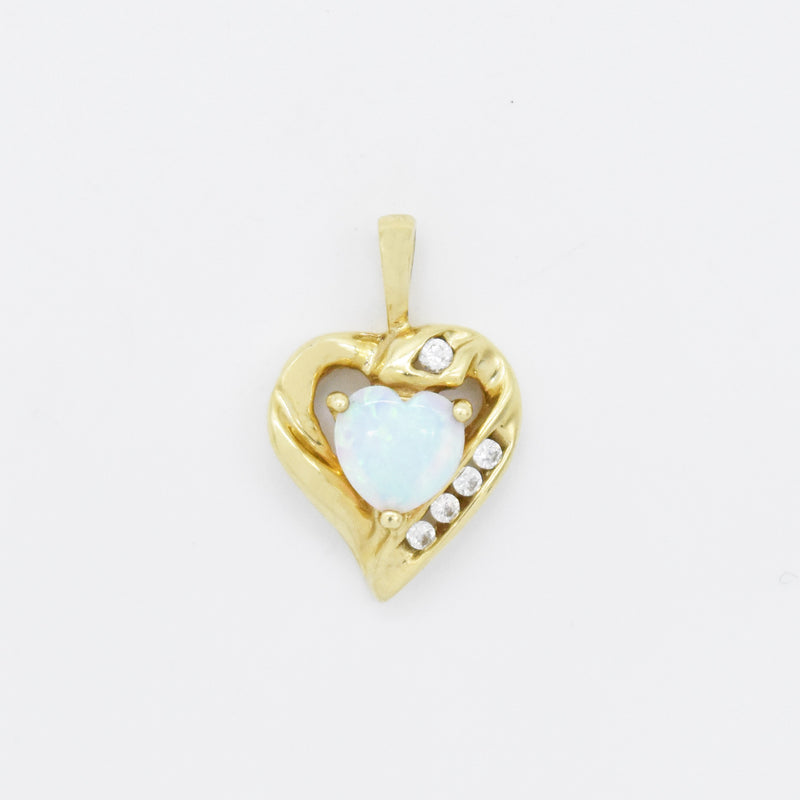 10k Yellow Gold Estate Fire Opal & CZ Heart Drop/Dangle Pendant