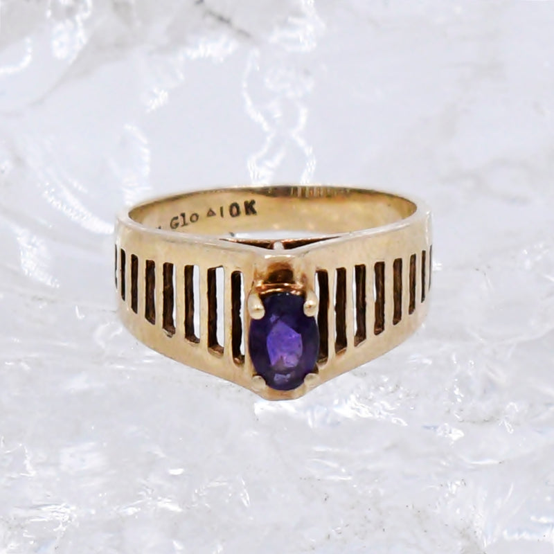 10k Yellow Gold Mid Century Modern Open Band Amethyst Ring Size 6