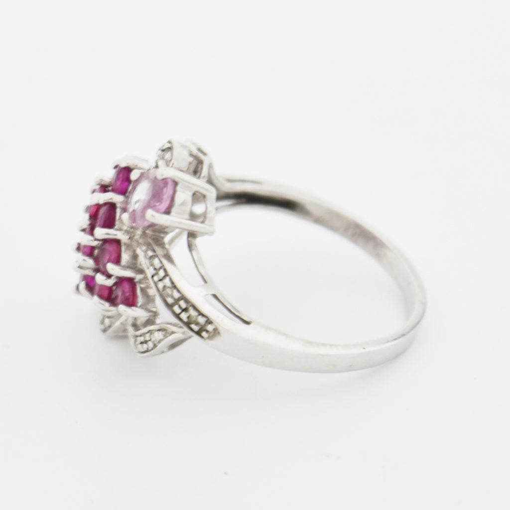 14k White Gold Open Work Ruby & Diamond Cocktail Ring Size 7