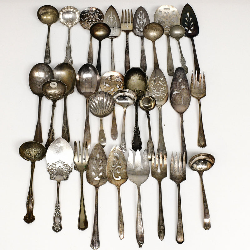 55 Pce Vntage Silver Plate Arts & Crafts Serving Utensils Flatware Lot