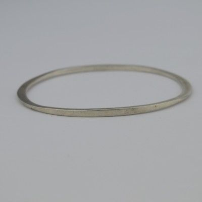 Sterling Silver 925 Estate Mid Century Modern Oval Bangle Bracelet