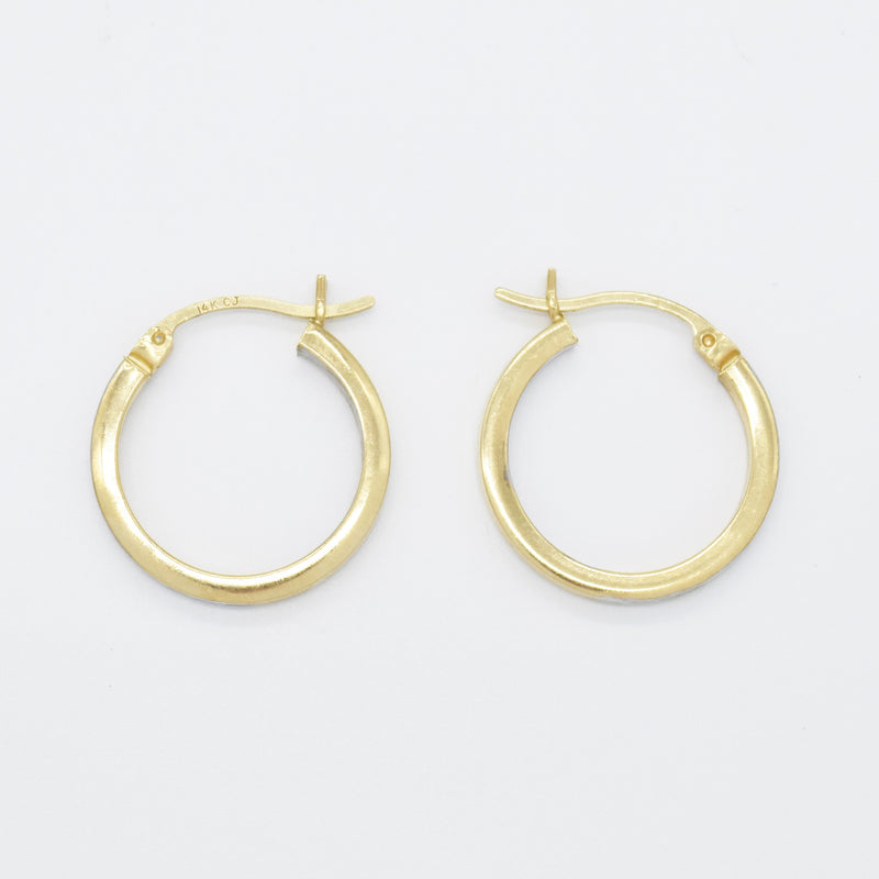"14k Yellow & White Gold Diamond Cut Double Sided 3/4"" Hoop Earrings"