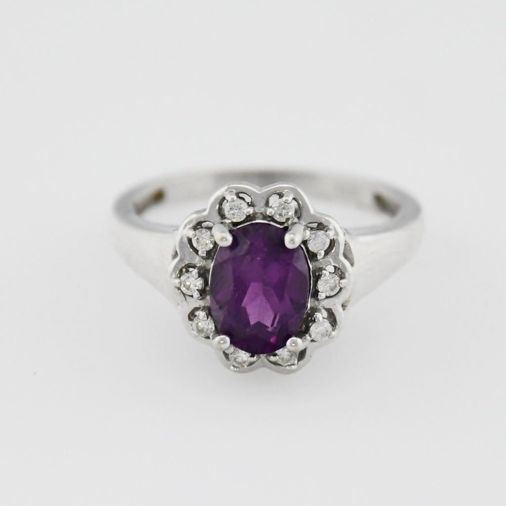 14k WG Oval Cut 1.69 tcw Natural Amethyst & Diamond Ring Size 7.25