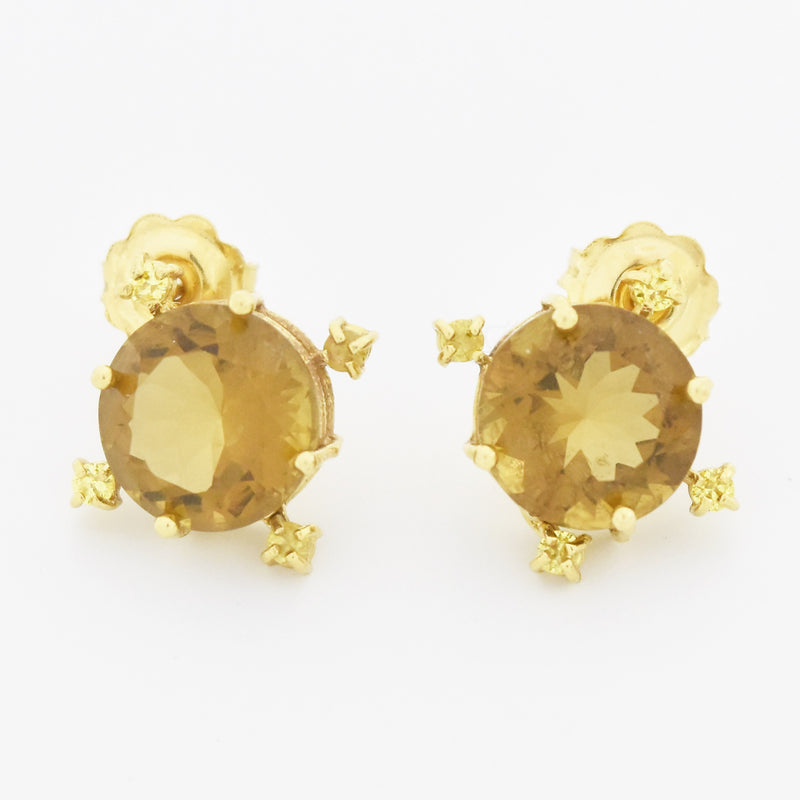 18k Yellow Gold Estate Round Citrine Gemstone Post Earrings