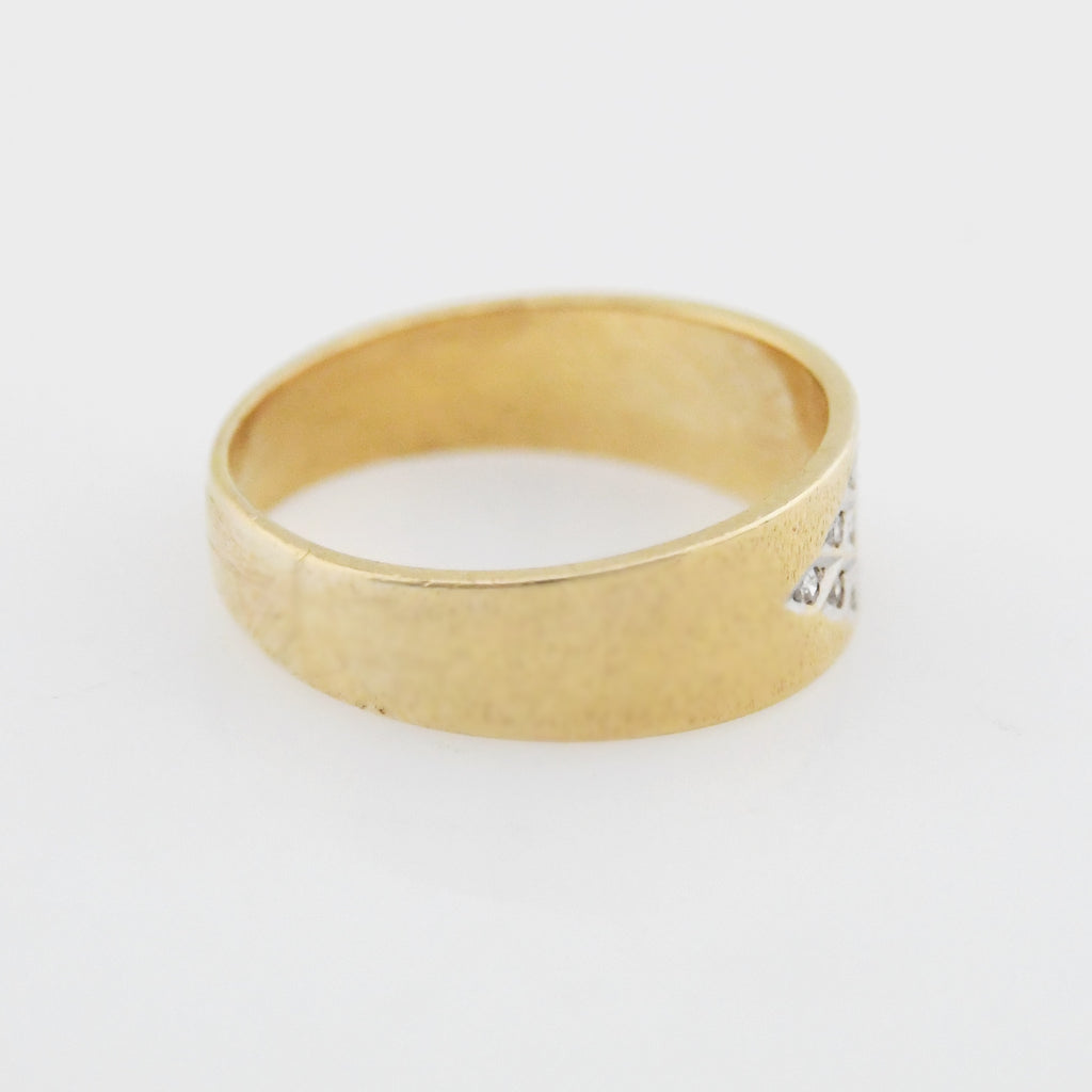 14k Yellow Gold Estate Textured Diamond Band/Ring Size 11.75