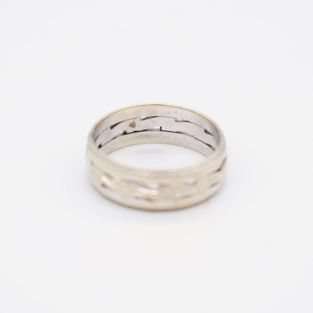 14k White Gold Vintage Open Work Band/Ring Size 7