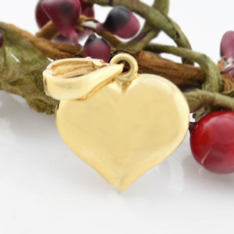14k Yellow Gold Estate Puffy Heart Pendant