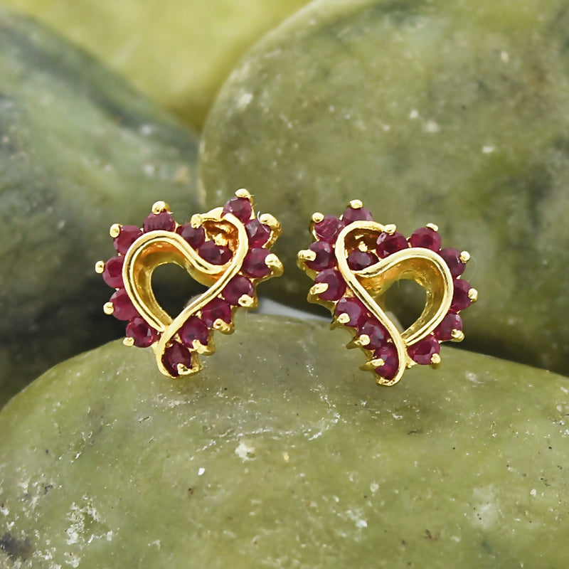 14k Yellow Gold Estate Ruby Open Heart Post Earrings