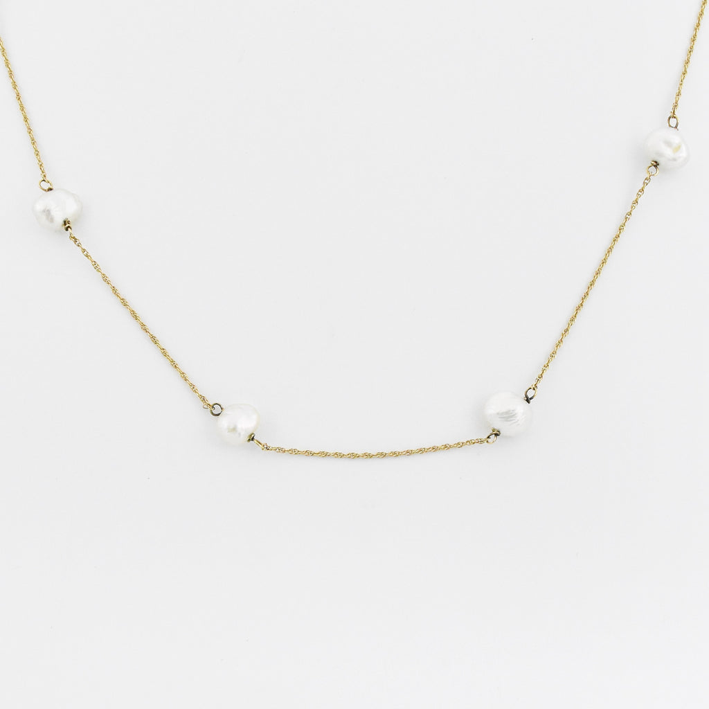 "14k Yellow Gold Estate 18"" Multi Pearl Necklace"