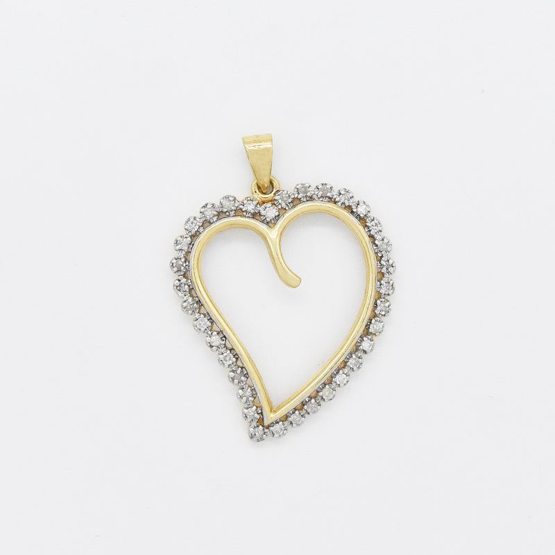 14k Yellow Gold Estate Diamond Open Swirl Heart Pendant