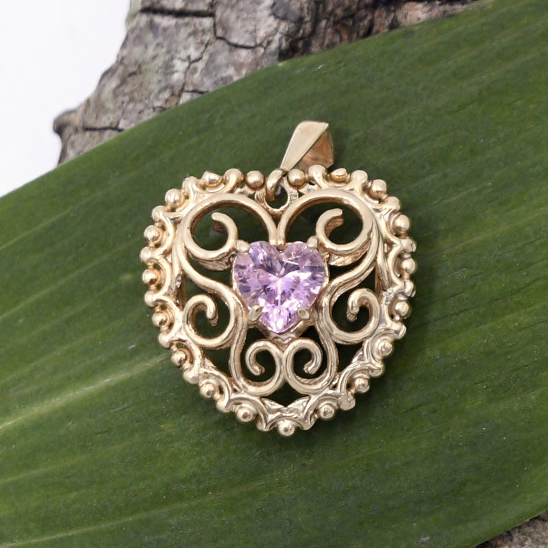 10k Tri Colored Gold Double Sided Filigree Pink CZ Leaf Pendant