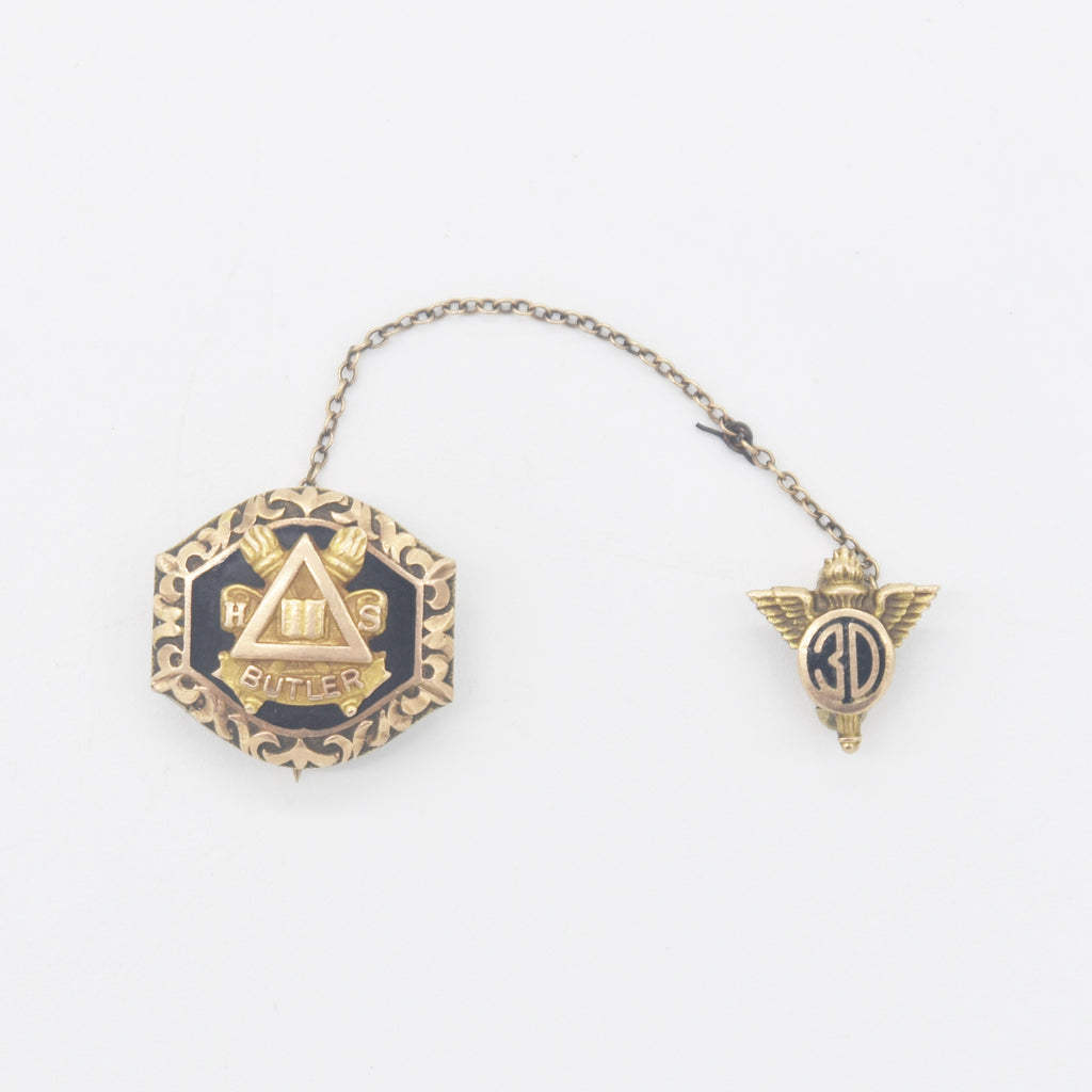 10k Yellow Gold Antique Enamel School/College Pin