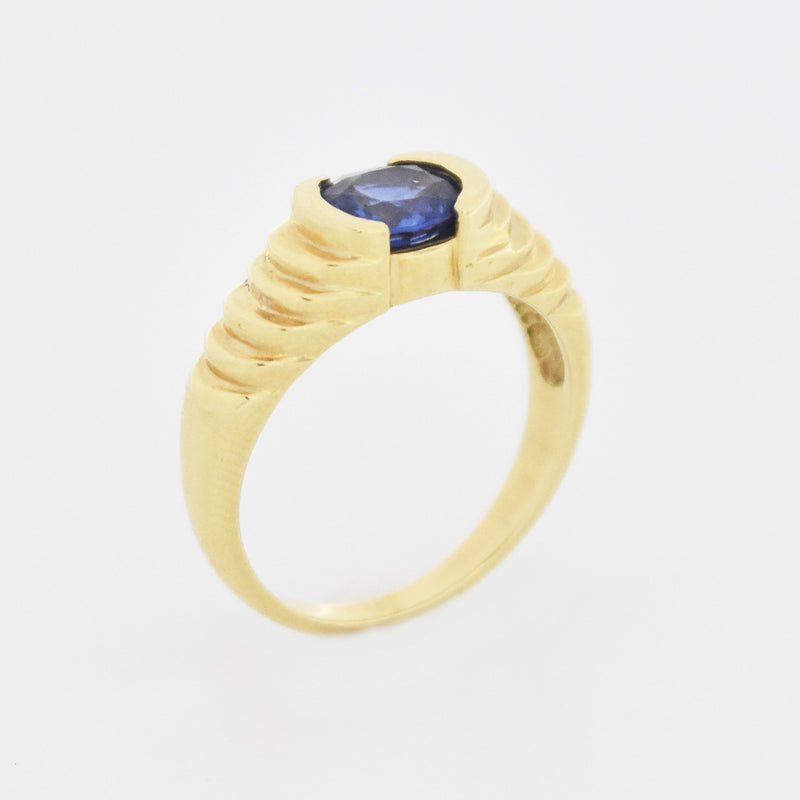 14k Yellow Gold Estate Stairstep Design Oval Sapphire Ring Size 6.75