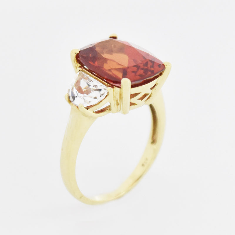 10k Yellow Gold Estate Orange & White Sapphire Tier Ring Size 8.25