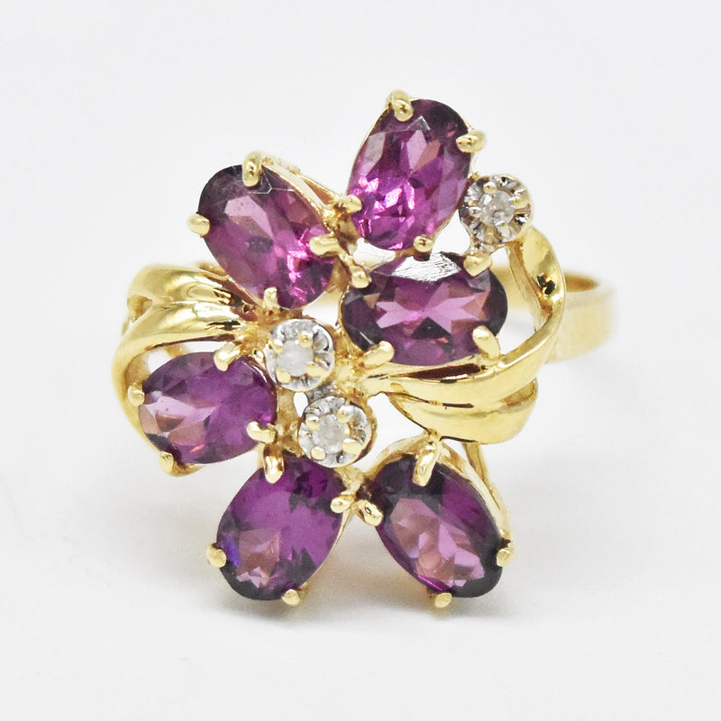 14k Yellow Gold Estate Amethyst & Diamond Cocktail Ring Size 7.5