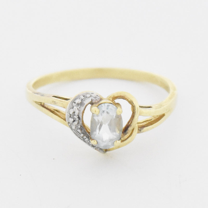 14k Yellow Gold Estate Aquamarine & Diamond Heart Ring Size 8.5