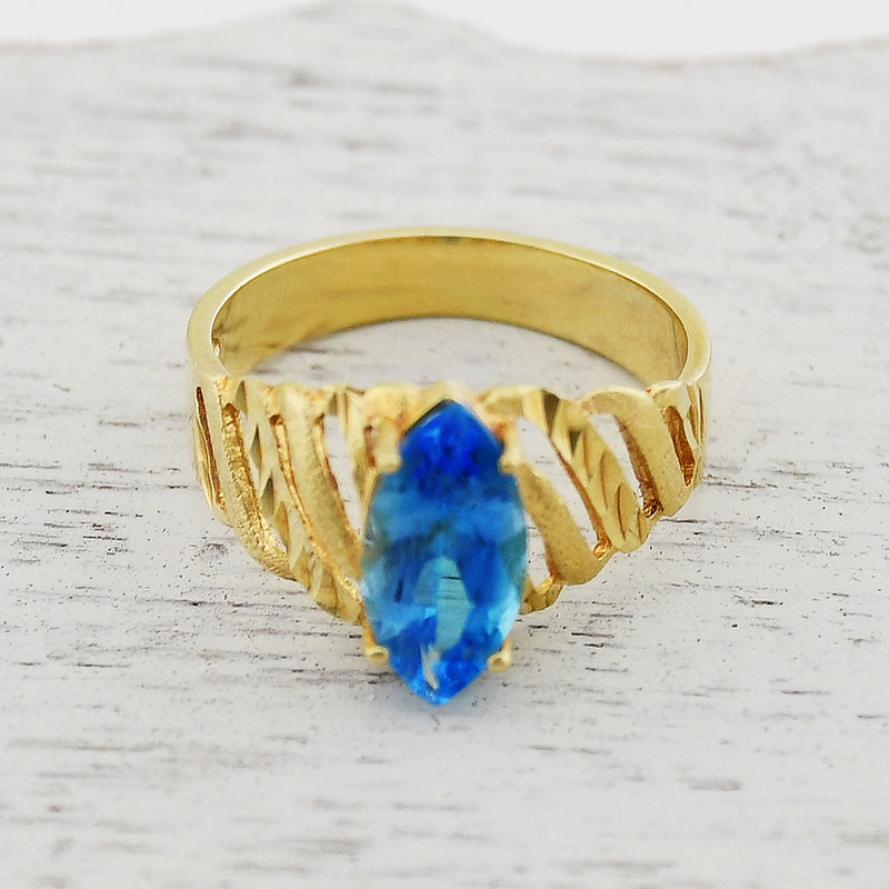 14k Yellow Gold Open Band Beverly Hills Gold Blue Topaz Ring Size 7