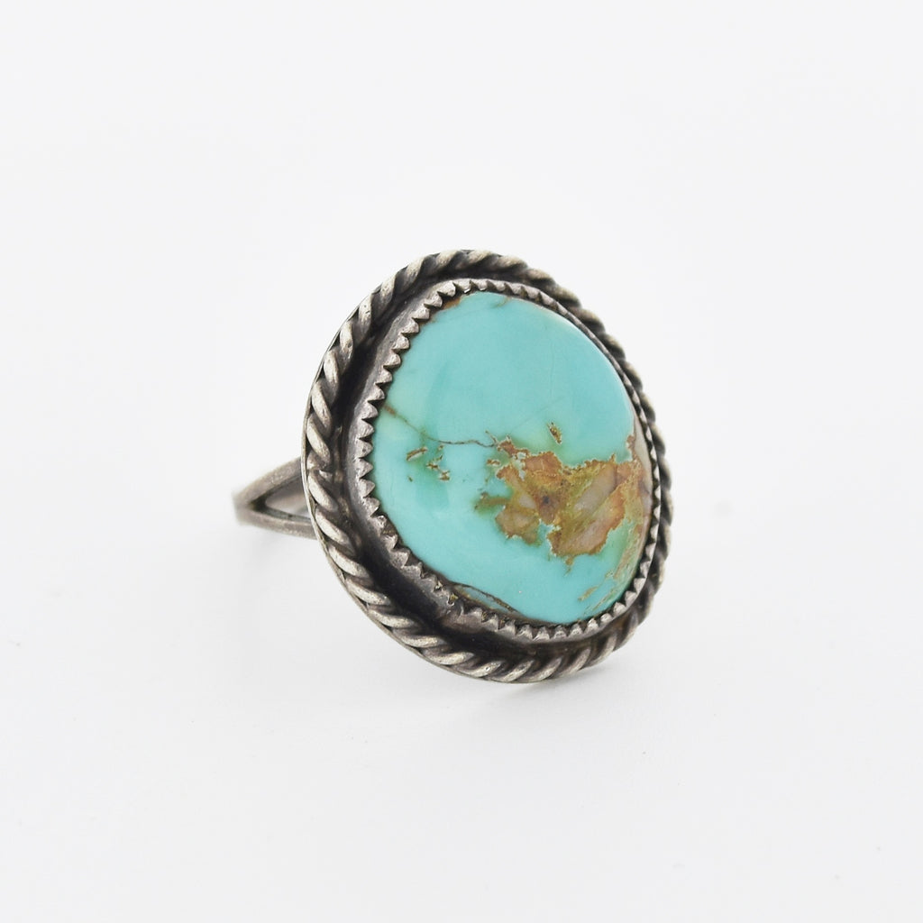 Sterling Silver 925 Abstract Rope Design Turquoise Ring Size 5.75