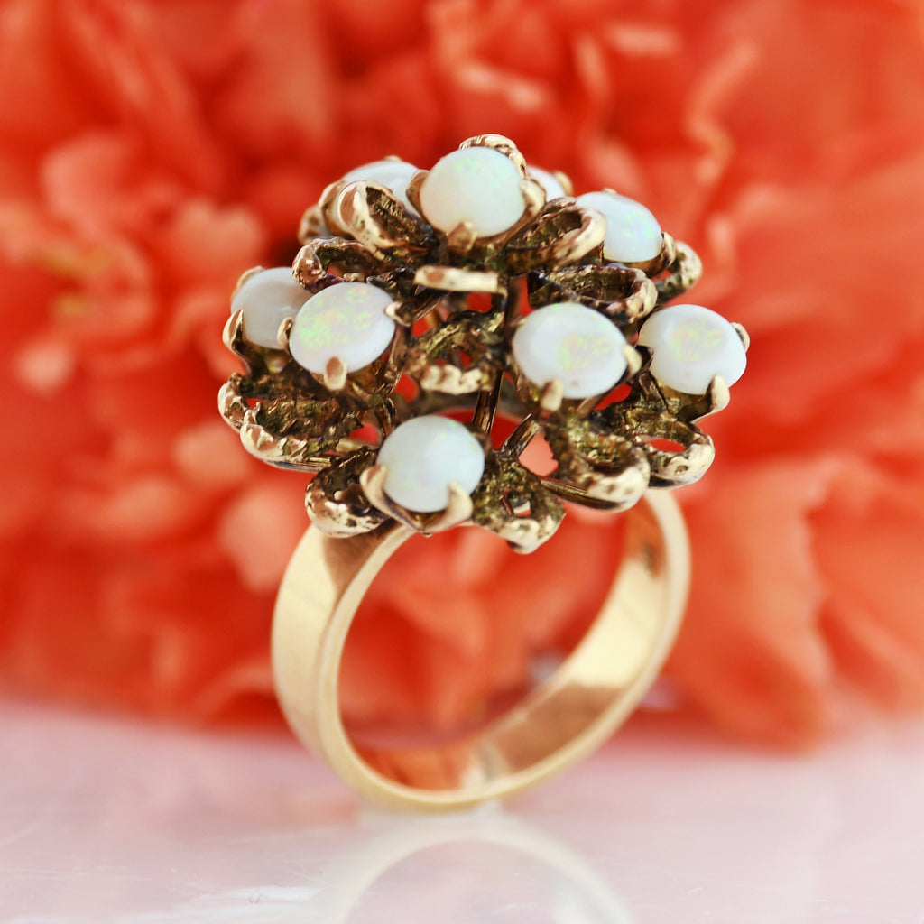 18k Yellow Gold Vintage Fire Opal Cocktail Ring Size 6