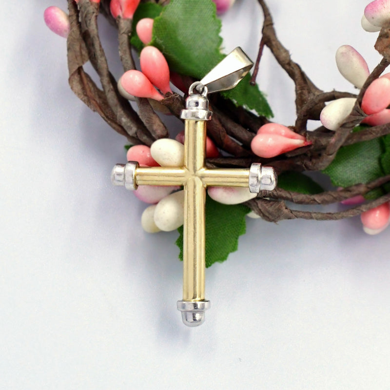 14k Yellow & White Gold Estate Modern Style Cross Religious Pendant