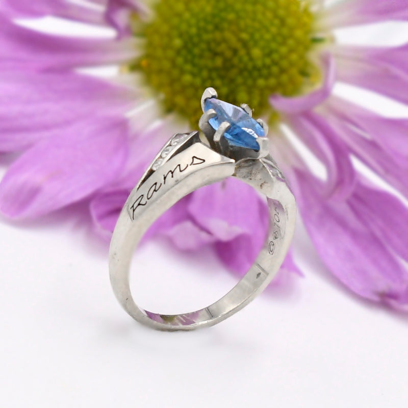 10k White Gold Blue Topaz & White Gemstone Open Work Class Ring Size 7
