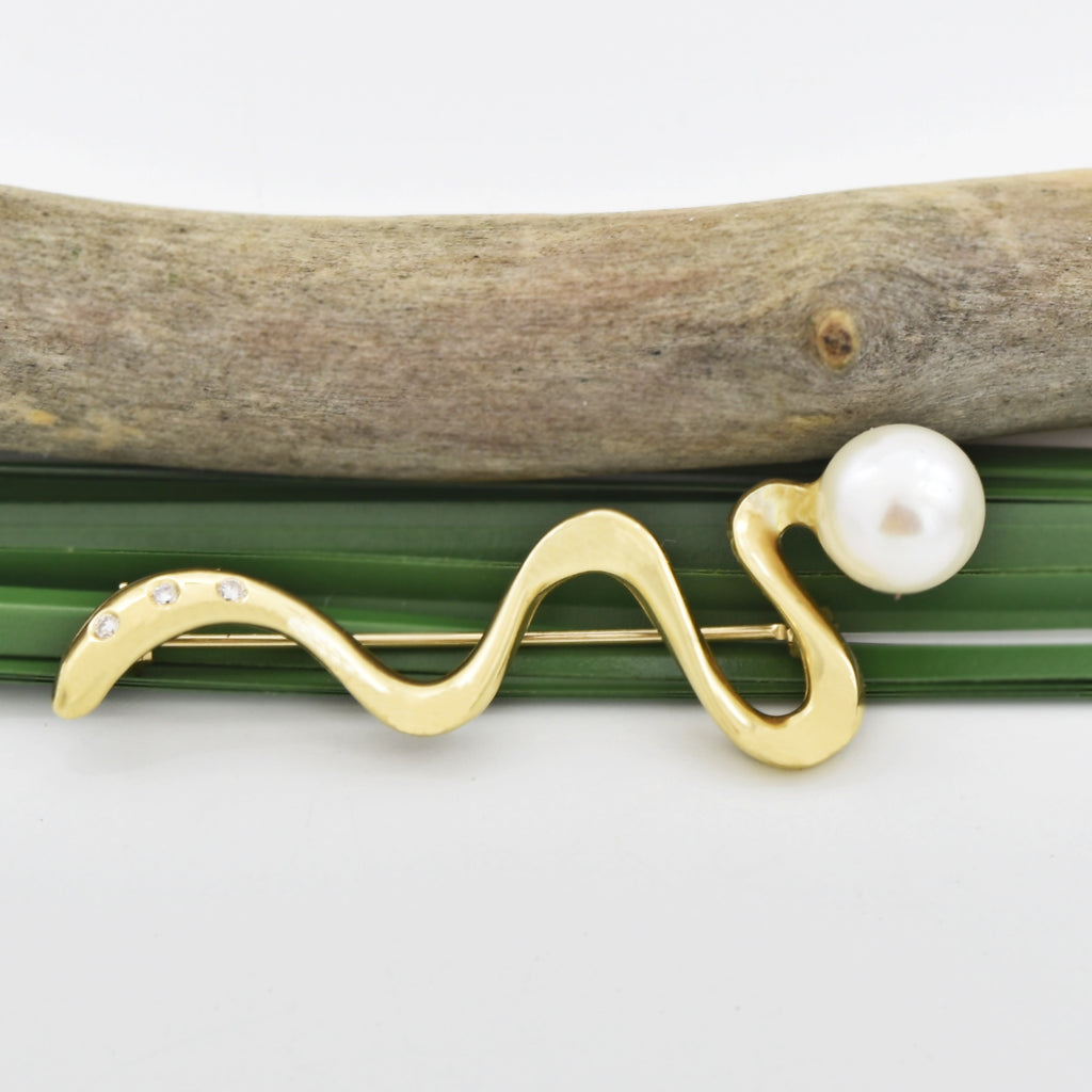 14k Yellow Gold Estate Swirl Pearl & Diamond Pin