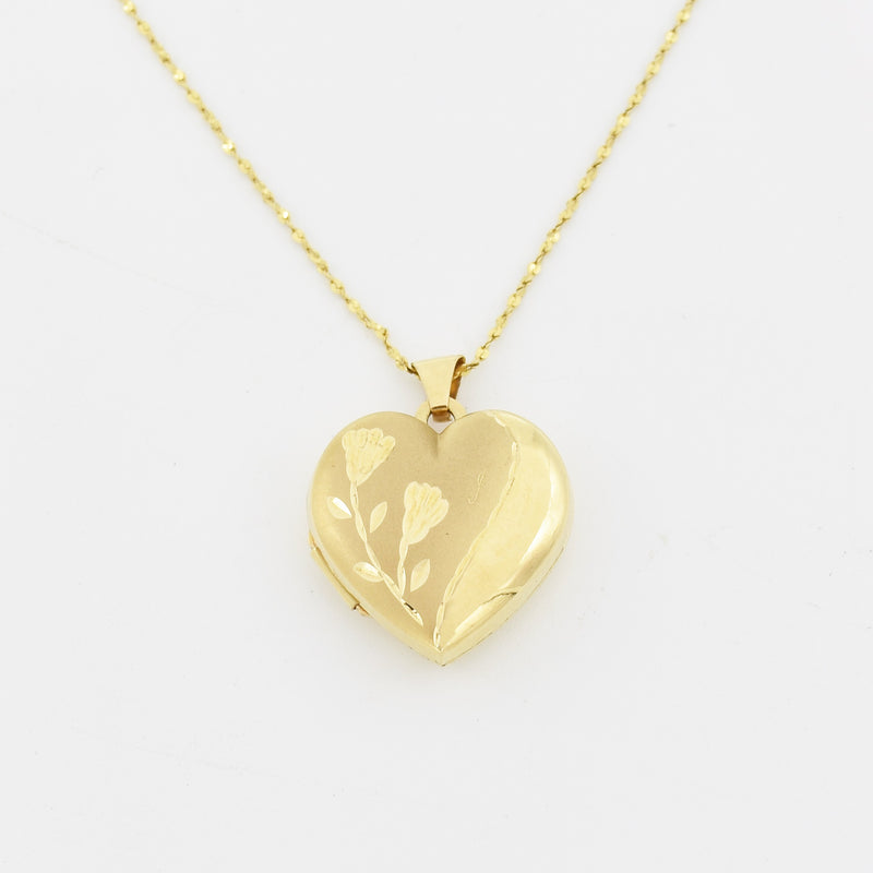 "14k Yellow Gold Estate 18"" Diamond Cut Heart Locket Necklace"