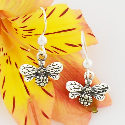 NEW Sterling Silver 925 Ornate Marcasite Honey Bee Animal Earrings