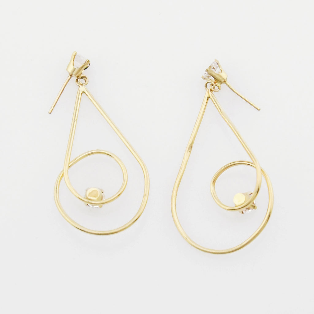 14k Yellow Gold Estate Swirl Teardrop Dangle/Drop CZ Post Earrings