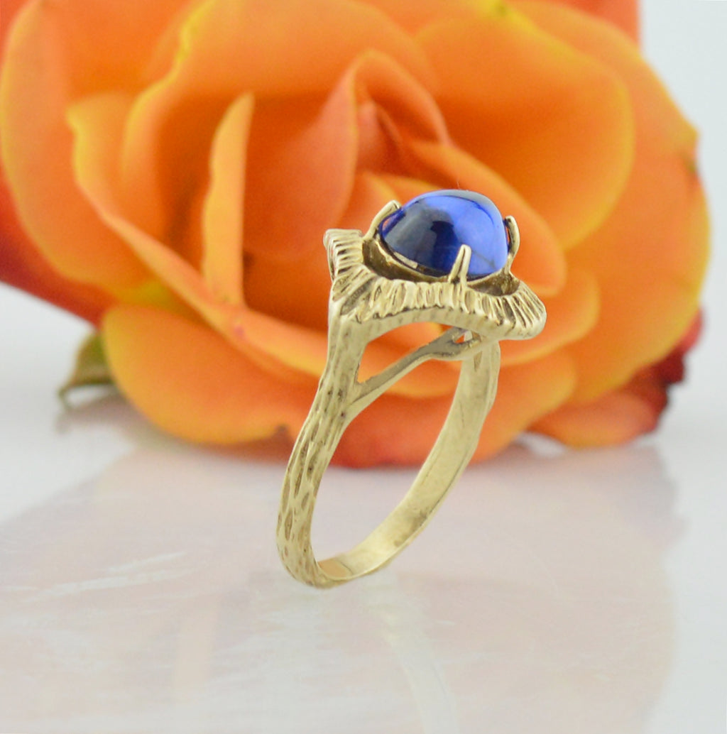 14k Yellow Gold Estate Ornate Cabochon Blue Topaz Ring Size 6