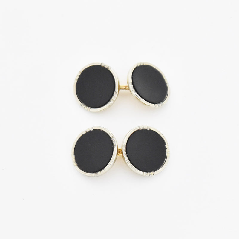 10k White & Yellow Gold Antique Art Deco Black Onyx Cuff Links