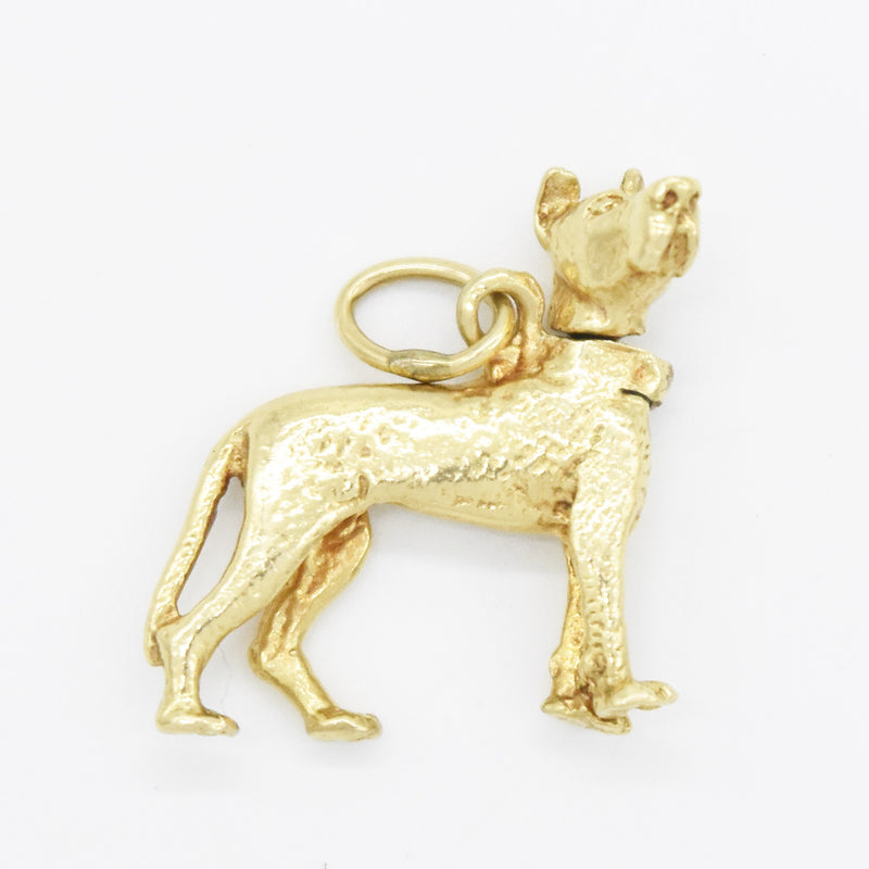 14k Yellow Gold Estate Dog Great Dane Articulated Head Charm/Pendant