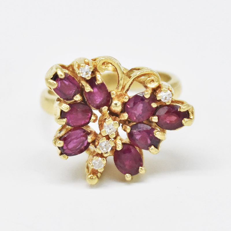 14k Yellow Gold Estate Ruby & Diamond Butterfly Ring Size 5