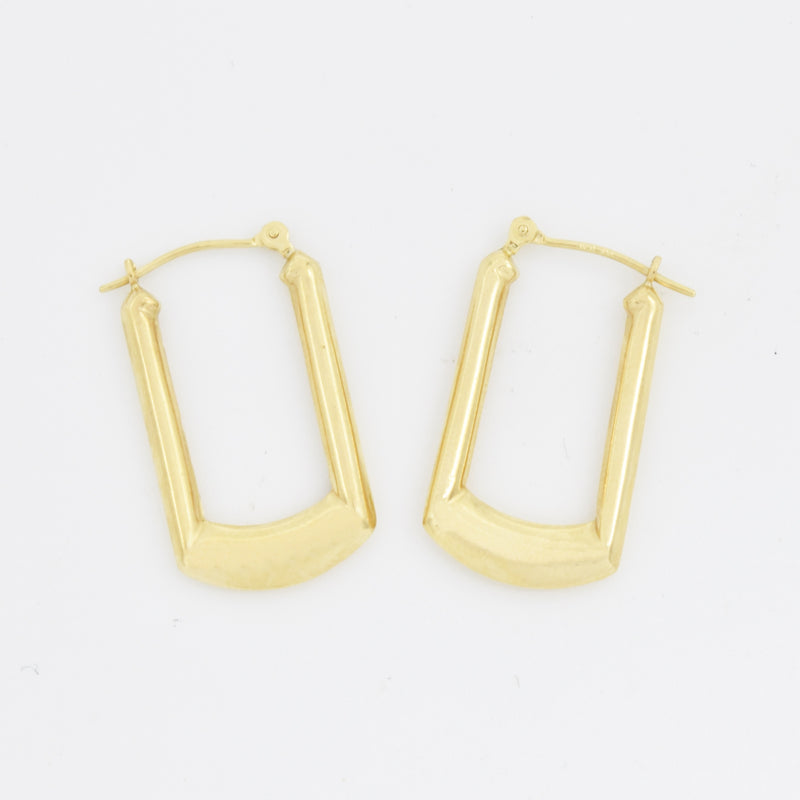 "14k Yellow Gold Estate Squared Hoops/Hoop Earrings 1"" Tall"