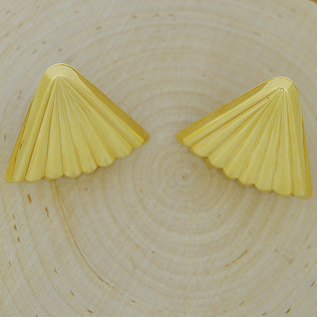 14k Yellow Gold Estate Fan Shaped Omega Back Earrings