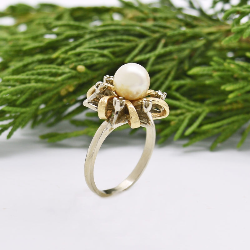 14k W/Y Gold Vintage Open Swirl Pearl & Diamond Ring Size 7.75