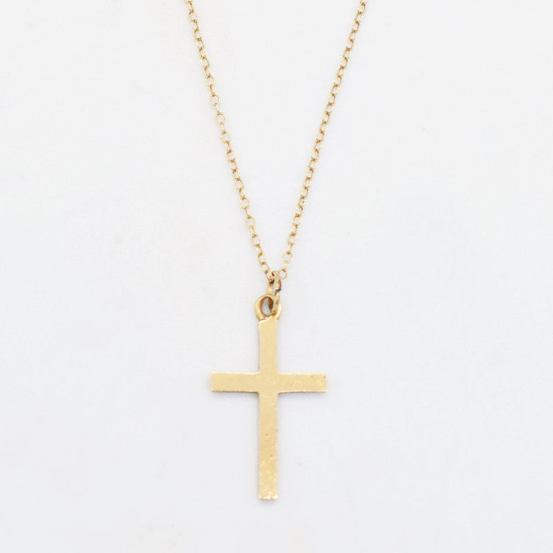 "14k Yellow Gold Estate 16"" Cross Necklace"
