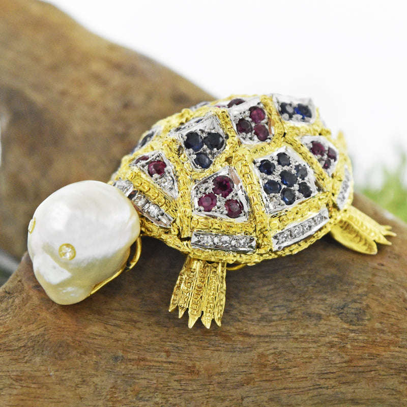 14k YG Pearl & Multi Gemstone Articulated Turtle Brooch/Pin