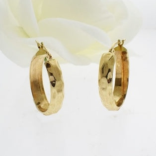 14k Yellow Gold Estate Textured Oval Hoop Earrings